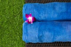 2 голубых полотенца в курорте Стоковые Фото