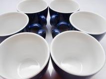 6 голубых чашек Стоковые Изображения RF