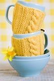 2 голубых чашки в желтых свитере и цветке Стоковые Изображения RF