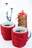 2 голубых чашки в связанных крышках и печеньях Стоковая Фотография RF