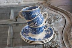 3 голубых чашки Стоковое фото RF