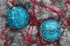 2 голубых шарика рождества Стоковое фото RF