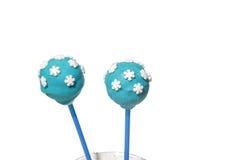 2 голубых cakepops с украшениями снежинок Стоковые Изображения