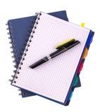 2 голубых notebookes спирали дневника и черной ручка Стоковая Фотография RF