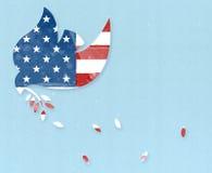Голубь мира с флагом США Стоковая Фотография