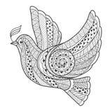 Голубь Zentangle стилизованный с ветвью Стоковое Изображение