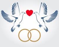 2 голубя летая с обручальными кольцами также вектор иллюстрации притяжки corel Стоковые Изображения