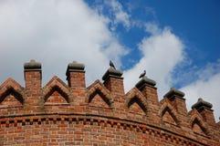 2 голубя на стене замка Стоковые Изображения