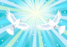 2 голубя с крестом Стоковое Изображение RF