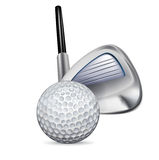 Гольф-клуб и шар для игры в гольф Бесплатная Иллюстрация