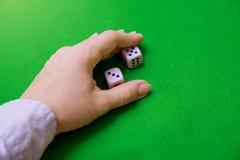 Грабли руки dices на зеленой ткани стоковое изображение rf
