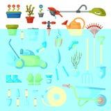 Грабл садовничая оборудования вектора садового инструмента или лопаткоулавливатель и травокосилка садовника обрабатывают землю со Стоковые Изображения