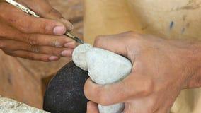 Гравер сделан из каменной статуи Будды Камбоджа видеоматериал