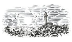 Гравировать иллюстрацию стиля маяка вектор стоковая фотография