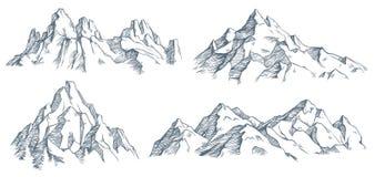 Гравировка гор пиковая Винтажный выгравированный эскиз долины с ландшафтом горы и старыми лесными деревьями r иллюстрация вектора