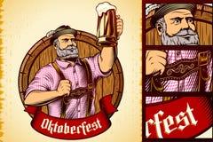 Гравировка лагера пены бочонка стекла пива человека Oktoberfest вектора баварская Стоковое Изображение RF