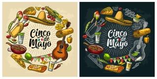 Гравировка мексиканской кухни набора формы круга Литерность Cinco de Mayo иллюстрация штока
