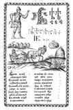 Гравировка от старой ABC-книги 1600s иллюстрация вектора