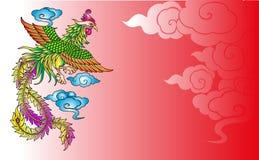 Гравировка Феникса китайца вектора винтажная иллюстрация штока