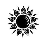 Гравировка черно-белого woodcut солнца ретро, вектор иллюстрация вектора