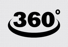 360 градусов значка иллюстрация штока