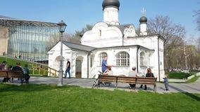 Граждане и туристы в Zaryadye паркуют в Москве, Кремле в предпосылке сток-видео