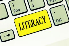 Грамотность текста сочинительства слова Концепция дела для способности прочитать и написать правомочность или знание в определенн стоковое фото rf