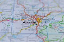 Гранада на карте Стоковое Изображение
