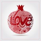 Гранатовое дерево нарисованное рукой декоративное орнаментальное сделанное свирли doodles Влюбленность текста на день валентинки, Стоковые Фото