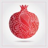 Гранатовое дерево нарисованное рукой декоративное орнаментальное сделанное свирли doodles Vector абстрактная иллюстрация логотипа Стоковые Изображения