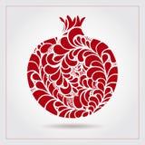 Гранатовое дерево нарисованное рукой декоративное орнаментальное сделанное свирли doodles Vector абстрактная иллюстрация логотипа Стоковая Фотография