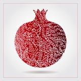Гранатовое дерево нарисованное рукой декоративное орнаментальное сделанное свирли doodles Vector абстрактная иллюстрация логотипа Стоковое Изображение RF