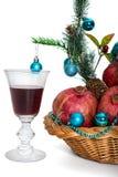 Гранатовые деревья и стекло красного вина Стоковая Фотография RF