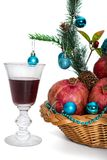 Гранатовые деревья и стекло красного вина Стоковые Изображения RF