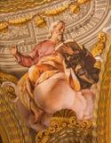 Гранада - фреска St Luke евангелист в барочном святилище (святилищах Sanctorum) в церков Monasterio de Ла Cartuja стоковая фотография