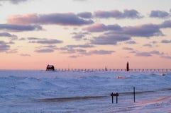 грандиозный заход солнца гавани Стоковое Изображение RF