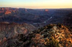Грандиозный каньон, восход солнца пункта взгляда пустыни Стоковые Изображения RF