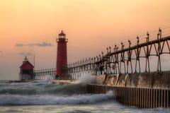 Грандиозный маяк гавани стоковые фотографии rf
