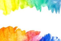 Граница абстрактной краски руки искусства акварели на белой предпосылке желтый цвет акварели стародедовской предпосылки темный бу стоковое изображение rf