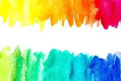 Граница абстрактной краски руки искусства акварели на белой предпосылке желтый цвет акварели стародедовской предпосылки темный бу стоковая фотография rf