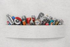 Граница автозапчастей на бумажной предпосылке стоковые фото
