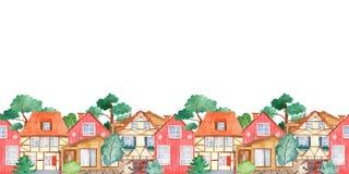 Граница акварели безшовная с сладостными милыми домами и деревьями бесплатная иллюстрация