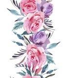 Граница акварели флористическая безшовная с розовыми розами иллюстрация штока