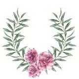 Граница акварели флористическая Вручите покрашенный венок с цветками олеандра при листья и ветвь изолированные на белой предпосыл Стоковые Фотографии RF