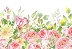 Граница акварели цветка Стоковые Фотографии RF