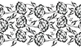 Граница безшовного вектора флористическая для дизайна ткани бесплатная иллюстрация