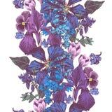 Граница вектора безшовная красочная флористическая иллюстрация штока