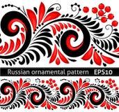Граница вектора черных и красных цветов богато украшенная в русском стиле hohloma иллюстрация штока