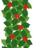 Граница вертикали листьев и ягод падуба Стоковые Фото