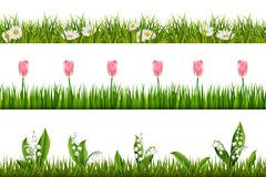 Граница весны флористическая безшовная вектор бесплатная иллюстрация